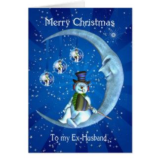 Ex-Husband Christmas Card - Snowman And Moon