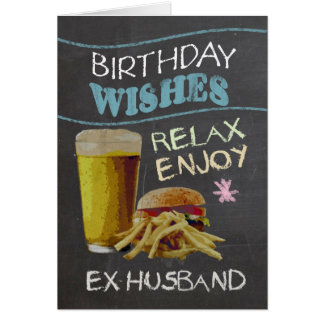 Ex Husband Trendy Chalk Board Effect, With Beer Card