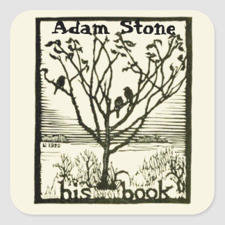 Ex Libris Birds in Tree Square Sticker