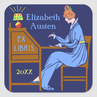 Ex Libris Bookplate Deco Lady Writing Desk Custom Square Sticker