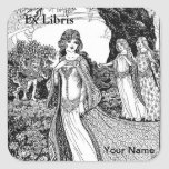 Ex Libris Bookplate with your name personalised Square Stickers