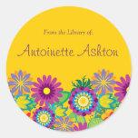 Ex Libris Floral Label Round Sticker