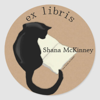 Ex Libris Reading Cat Rounded Bookplate Round Sticker