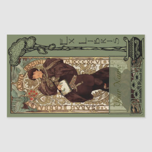 Ex Libris - Sarah Bernhardt Book Plate-Your Name Rectangular Sticker