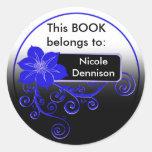 Ex Libris Sticker (floral blue)