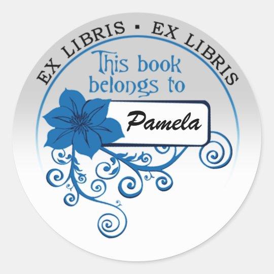 Ex Libris Sticker (floral blue & background)