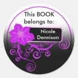 Ex Libris Sticker (floral purple)