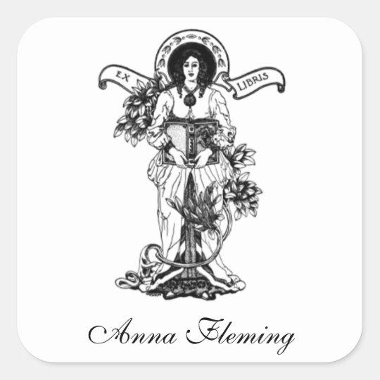 Ex Libris Woman with Book Square Sticker