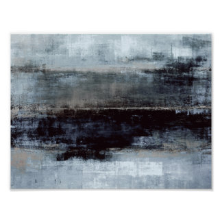'Exaggerated' Blue Abstract Art Painting Poster