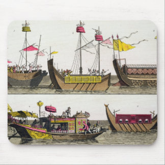 Examples of Chinese ships, illustration from 'Le C Mouse Mat