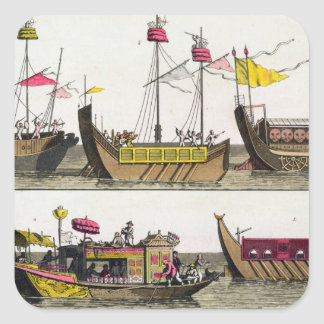 Examples of Chinese ships, illustration from 'Le C Square Sticker