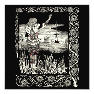 Excalibur Rising from  the Lake 13 Cm X 13 Cm Square Invitation Card