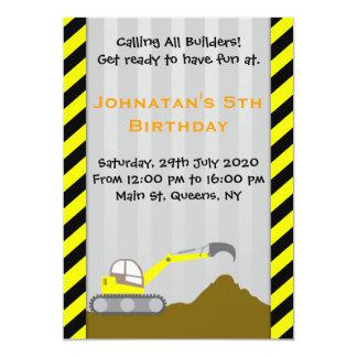 Excavator Construction Birthday Invitation