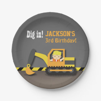 Excavator Construction Birthday Party Supplies 7 Inch Paper Plate