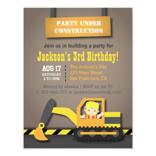 Excavator Construction Theme Kids Birthday Party Card