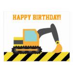 Excavator, Construction Vehicle, Happy Birthday Post Cards