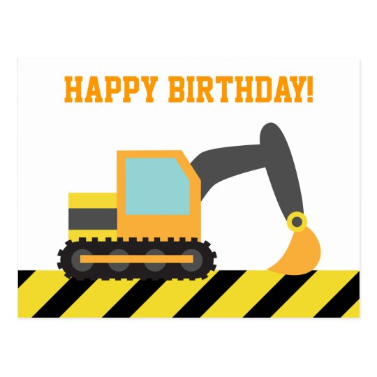 Excavator, Construction Vehicle, Happy Birthday Postcard