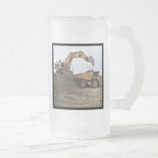 Excavator & Dump Truck Frosted Glass Beer Mug