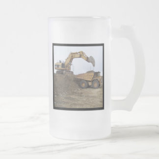 Excavator & Dump Truck Frosted Glass Mug