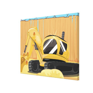 Excavator on a Building Site Gallery Wrapped Canvas