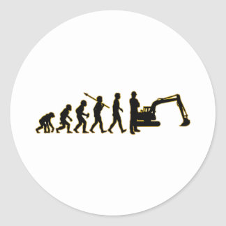 Excavator Round Sticker