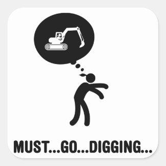 Excavator Square Sticker