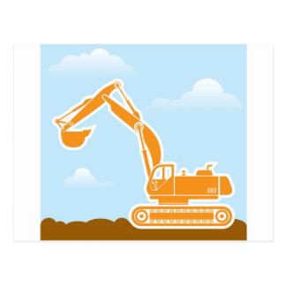 Excavator Vector Postcard