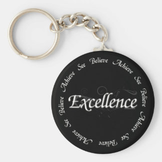 Excellence - see believe achieve basic round button key ring