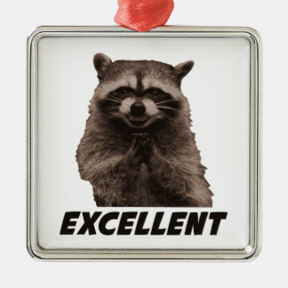 Excellent Evil Plotting Raccoon Christmas Ornament