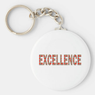 EXCELLENT EXCELLENCE Quality Achievement Topper Basic Round Button Key Ring