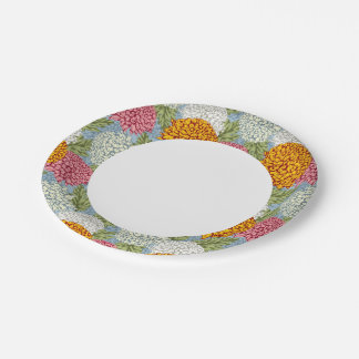 Excellent pattern with chrysanthemums 7 inch paper plate