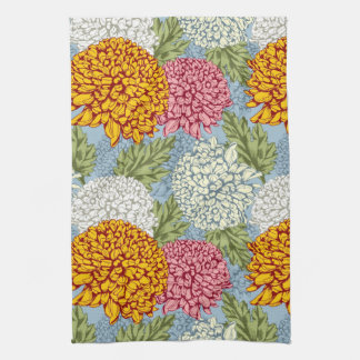 Excellent pattern with chrysanthemums tea towel