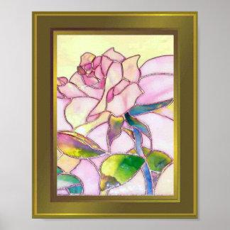 Excellent Rose Poster golden frame