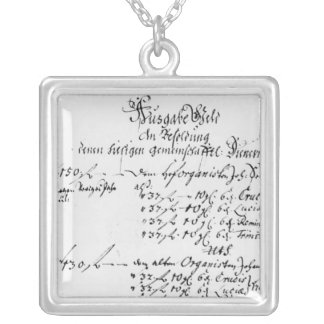 Excerpt from J.S. Bach's salary payment Silver Plated Necklace