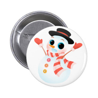 Excited Cute Snowman Pinback Button