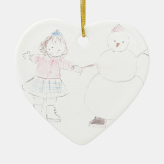 Excited Girl with Snowman Ceramic Heart Decoration