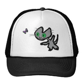 Excited Kitty Chases A Butterfly Mesh Hat