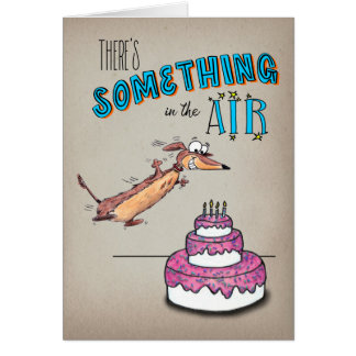 Excited Leaping Dachshund Birthday Card