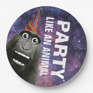 Excited Party Monkey Paper Plate