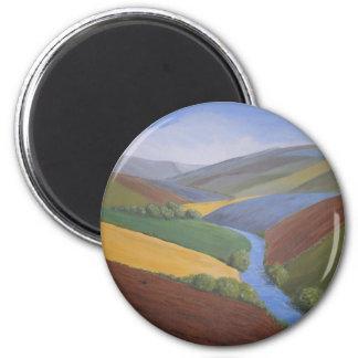 Exe Valley View by Janet Davies,Devon 6 Cm Round Magnet