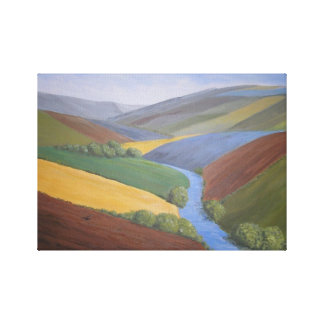 Exe Valley View by Janet Davies,Devon Gallery Wrap Canvas
