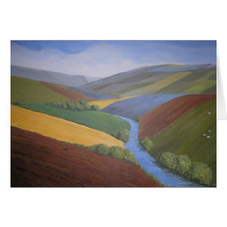 Exe Valley View by Janet Davies,Devon Greeting Card