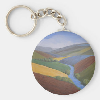 Exe Valley View by Janet Davies,Devon Basic Round Button Key Ring