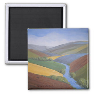Exe Valley View contemporary art Button Magnet