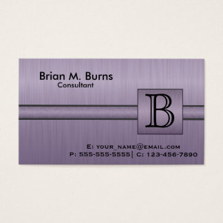 Executive Amethyst Monogram Business Card