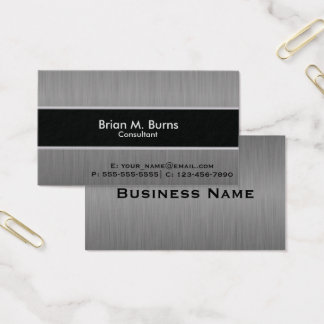 Executive Black Brush Steel Business Card