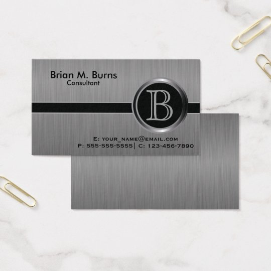 Executive Black Brush Steel Monogram Business Card