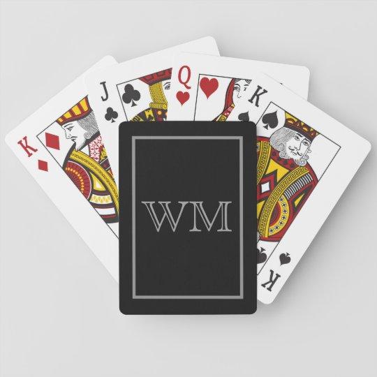 Executive Black Grey Initials Playing Cards