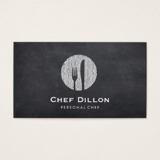 Executive Chef Chalkboard Fork and Knife Catering Business Card