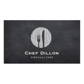 Executive Chef Chalkboard Fork and Knife Catering Pack Of Standard Business Cards